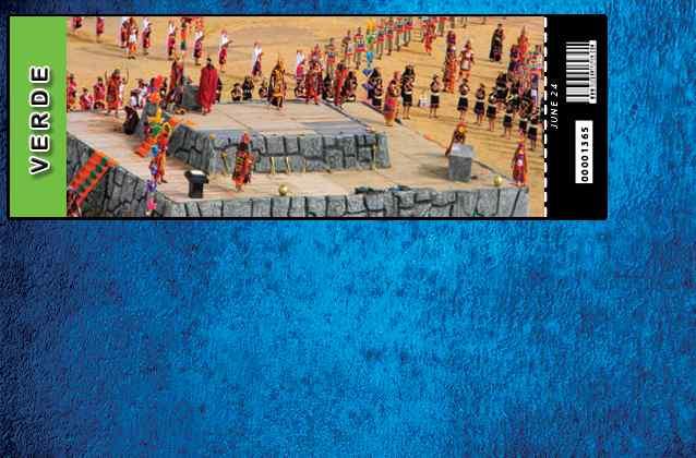 Inti Raymi 2021-ticket. Groene sectie