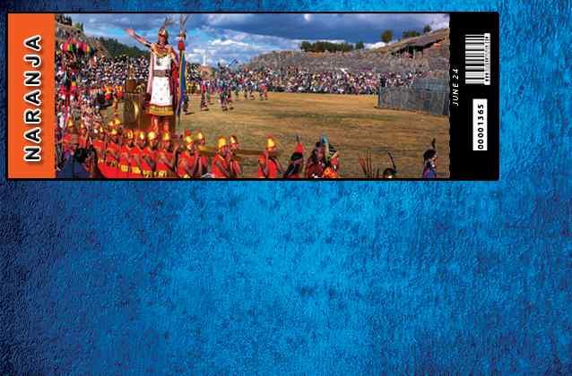 Bilhete Inti Raymi 2021. Seção laranja