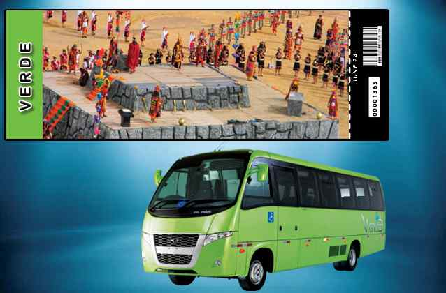 Inti Raymi 2021-ticket. Groen gedeelte + tourbus