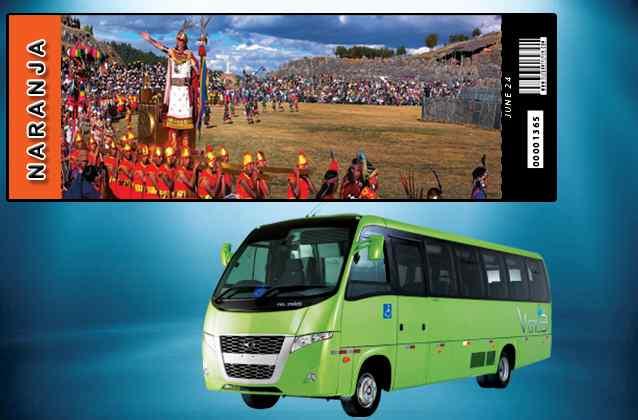 Bilhete Inti Raymi 2021. Seção laranja + ônibus de turismo