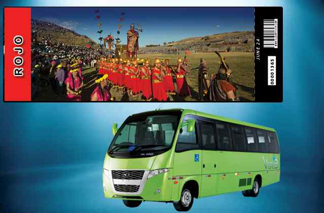 Bilhete Inti Raymi 2021. Seção vermelha + ônibus de turnê